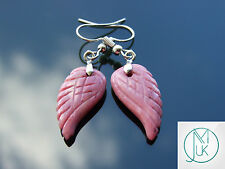 Rhodonite Angel Wing Gemstone Earrings Natural Quartz Chakra Healing Stone Reiki