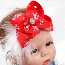 Red Cute Baby Toddler Girls Christmas Bow Feather Headband Hairband Headwear