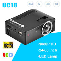 Portable 1080P HD LCD LED Mini Projector Home Theater Cinema VGA USB HDMI Lot JS