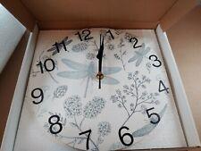 senya Blue Dragonfly Round Wall Clock, Silent Non Ticking Oil Painting Deco ART