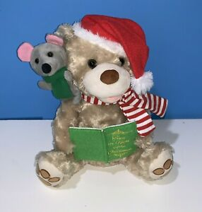 """Home Accents Animated Story telling talking Bear w Mouse Holiday """"Night Before"""