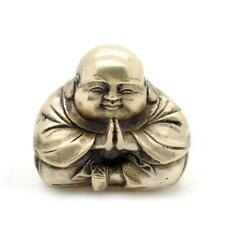 "WHITE BRONZE PRAYING BUDDHA STATUE 2"" Happy Monk Feng Shui Silver Tone Metal NEW"