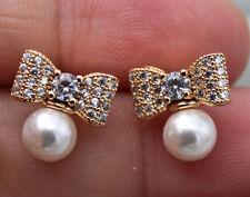 18K Gold Filled - White Topaz Zircon Bow Bowknot Pearl Wedding Lady Earrings