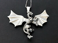 Vintage Sterling Silver Flying Dragon Pendant & Chain