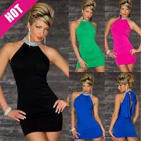 Uk Sexy Women's Clothing Sleeveless neck bag hip skirt Short Mini Bodycon dress