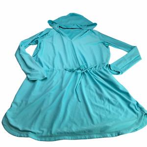 Athleta Sun Dress Beach Swimsuit Coverup Hoodie Hooded Blue Size Women's XL