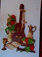 Vintage Homco Dart Guitar Music Fruit Wall Plaque 7440 1976