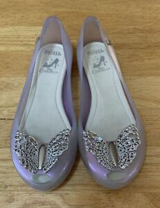 Disney Cinderella Girls Melissa Iridescent Jelly Flat Ultragirl Shoes Sz 1