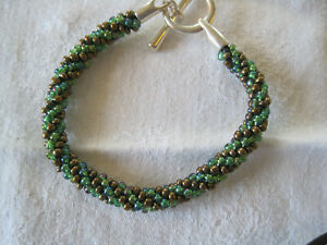 "Beaded KUMIHIMO BRACELET Handmade BROWN GREEN Size:8.5"" Toggle Clasp (E3)"