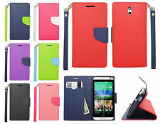 For HTC Desire 610 Leather 2 Tone Wallet Case Pouch Flip Phone Cover Accessory