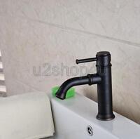 Black Oil Rubbed Brass Double Handle Bathroom Basin Faucet Sink Mixer Tap Unf279