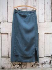 eskandar Blue/Green Teal 100% Linen Skirt 2 Faux Wrap