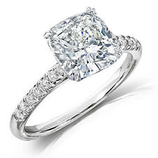 1.25 Ct Cushion Cut Solitaire Diamond Engagement Ring w/ Accents F,VVS2 GIA 14K