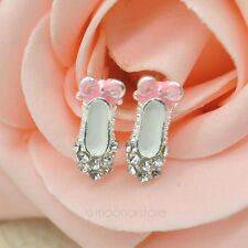 FREE GIFT BAG Silver Plated Crystal Ballerina Ballet Shoes Stud Earrings Costume