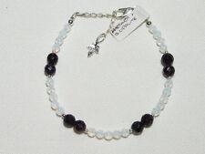 "AMETHYST GEMSTONE and OPALITE (created) bracelet, adjustable ""NEW "" AUZ MADE"