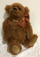"VTG  Bearly There Teddy Bear Zeke by Linda Spiegel  12"" - Bow Tie - New"