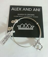 Alex and Ani QUEEN'S CROWN I Charm Bangle Bracelet NWT BOX Card Silver RETIRED