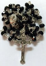 Black Crystal Beads Rosary Catholic Necklace Holy Soil Medal with Crucifix