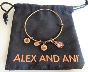 Fashion, ALEX and ANI, Dark Gold Tone Charming Bracelet with Pink Glass Teardrop