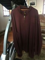 Carhartt Mens 2XL Relaxed Fit Spell Out Half Zip Work Pullover Sweater Brown