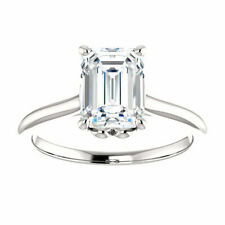 Engagement Ring In Solid 925 Silver 2.50Ct White Emerald Cut Diamond Solitaire