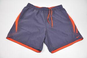Men's NIKE navy blue/orange SWIM Shorts/Trunks Size XXL Lined w/Drawstring