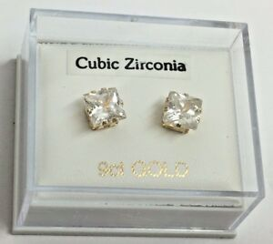 9ct Gold 6mm Square CZ Studs *New*