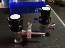 2 USED Shrader Scientific Lesker Helium Leak Tested Angle Valves FREE SHIPPING