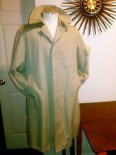 Vtg Raintamer Trench Coat Beige Men's Short 40 Faux Brown Fur Removable Liner