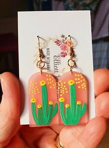 CACTI DANGLE EARRINGS Funky Retro Quirky Plant Flower Wild Mexican