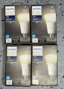 4 Hue A19 60W 800 Lumens Dimmable LED Smart Bulb - White