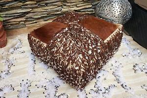 Moroccan Vintage Berber Wedding Blanket Cowhide Handira Pouf Sequin Floor Pillow