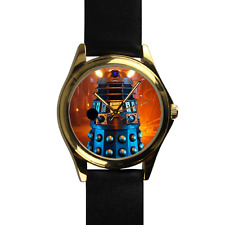 Gold Doctor Who Dalek Robot Exterminate Time Travel Custom Leather Strap Watch