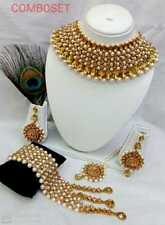New Indian Bollywood Gold Plated Golden Stone White Pearl Jewelry Necklace Set