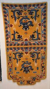 ANTIQUE TIBETAN DRAGON RUG, c1900 TIBET, PRIMITIVE WEAVE: 31x65 in