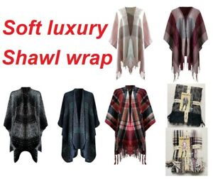 ladies soft poncho wrap shawl scarf blanket pashmina  cape jumper pullover top