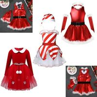 Children Christmas Costume Santa Claus Girls Dress Outfit Xmas Party Cosplay Set