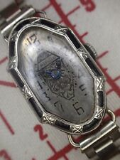 Art Deco 14k White Gold & Enameled Case Woman's Watch For Service#99