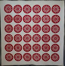 Historical Antique 1902 Red & White Signature Wagon Wheel QUILT Oregon