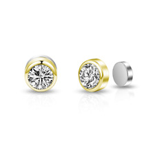 Gold Magnetic Clip On Earrings with Crystals from Swarovski®