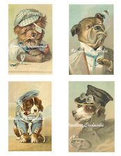 "Vintage Dogs Dressed Cotton Fabric Quilt Blocks (4) @ 3X5"" on 8.5X11"" Sheet"