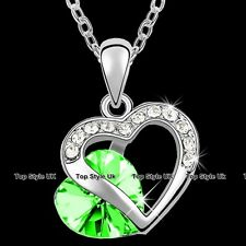 Double Heart Necklace Green Peridot Crystal Pendant Xmas Present for Her Girl G7