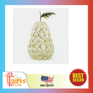 Nordic Handmade Wrought Crystal Pear Ornament Gold Artificial Fruit Figurine