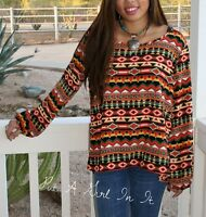 PLUS SIZE SOUTHWEST AZTEC MULTI COLOR SLIT TUNIC TOP SHIRT HI LO BLOUSE 1X 2X 3X