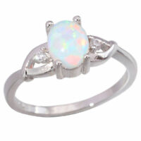 White Fire Opal Zircon 925 Sterling Silver Women Jewelry Gems Ring Sz 7-8 SR004