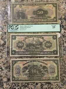 Mexico Bank Note, Banco de Mexico Lot Rare. 1933-1934. Pesos 10,20,50 Beautiful