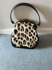 Used ladies black  leather and real Leopard Skin evening bag small 1970 vintage