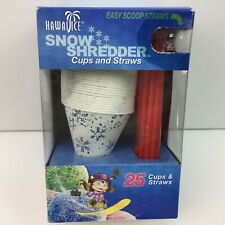 Hawaii Ice Snow Shredder Cups And Straws 25 Cups & 25 Easy Scoop Straws