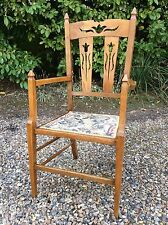 Gorgeous Tapestry Arts And Crafts Oak Chair Armchair Carver