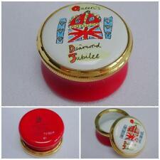 Staffordshire Enamel Pot Trinket Queens Diamond Jubilee Royal Souvenir Limited